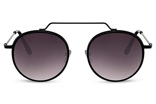 Cheapass - Gafas de sol redondas con un puente plano, estilo nerd vintage, festival, metal negro y negro brillante con lentes degradados oscuros con protección UV400, para hombre y mujer