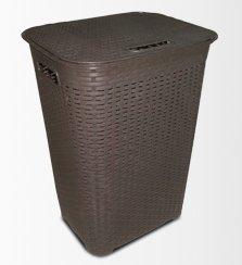 Panier à linge résine brune de 60 litres imitation rotin DUPLAST
