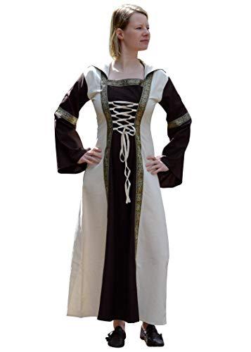 Battle-Merchant - Vestido Medieval Eleanor con Capucha - para Larp Vikingo - Marrón/Natural - S