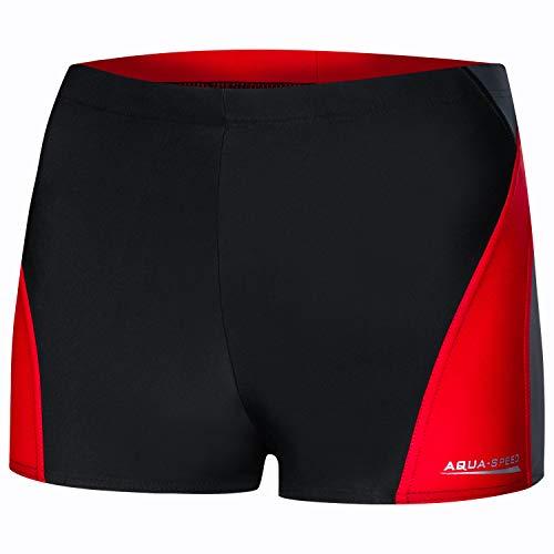 Aqua Speed Männer Boxer Schwimmhose kurz eng + gratis eBook | Retro Badehose für Herren | UV Badepants | Sport | Alex, Gr. L, 136 Black Gray red