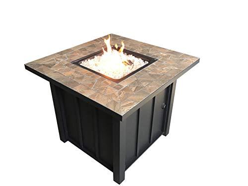 Hiland AFP-STT Square Slate Tile Top 40,000 BTU Propane Fire Pit, Bronze