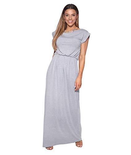 KRISP Vestido Mujer Tallas Grandes Largo Casual Ibicenco De Día Ropa Hippie Online Ofertas, (Gris (3269), 36 EU (08 UK)), 3269-GRY-08