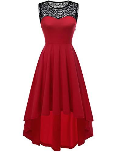 YOYAKER Damen Vintage Rockabilly Kleid Rundhals Ärmellos Cocktailkleid Elegant Spitzenkleid Vokuhila Festliche Party Abendkleider Red S