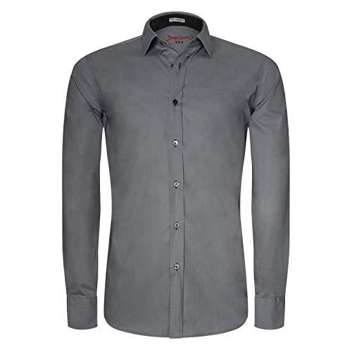 Signum Langarmhemd mit Stretch - Herrenhemd - Hemd in Grau - Größe XL