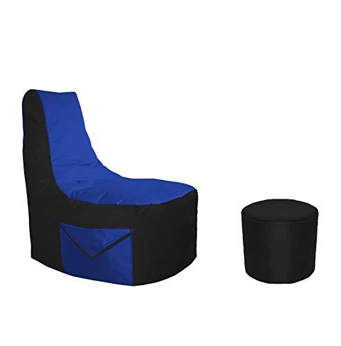 Lacasa Gaming Sitzsack 85x80x35 mit Seitentasche und Hocker Erwachsene Sessel XXL kompatibel mit PS4 XboxOne Nintendo Switch Outdoor Indoor Bodenkissen Sitzkissen in Schwarz & Blau.