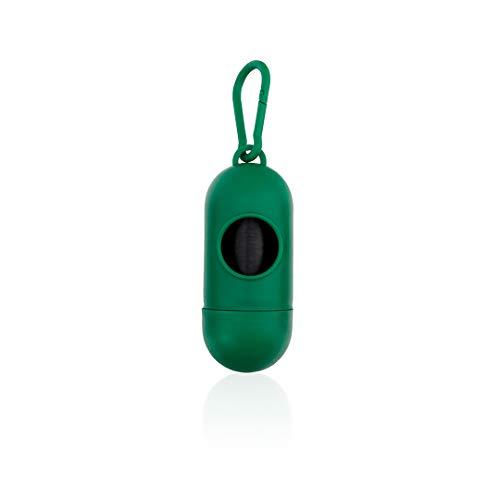 Dispensador de Bolsitas Coletoras de Excremento de Perros y Mascotas - Porta Bolsas de Desechos Heces Caca + 15 Bolsas (Verde)