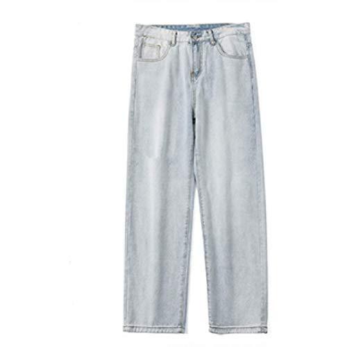 Pantalones Vaqueros para Hombre Primavera y Verano Pantalones Vaqueros Rasgados de Pierna Recta con Personalidad Nueva Vaqueros Casuales Lavados de Pierna Ancha Sueltos S