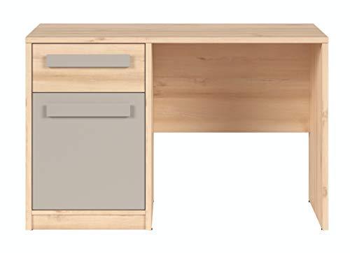 Boardd - Mesa de ordenador para ordenador de mesa con compartimento de almacenamiento, diseño de madera de haya/gris, 120 x 77 x 54 cm