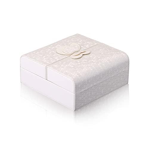 Joyero, caja de joyería, organizador de joyas de cuero sintético sintético para pendientes, anillos, pulseras, collar, adecuado para viajes en casa