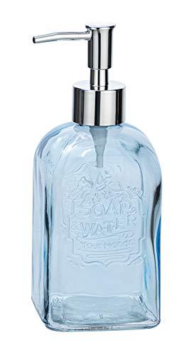 WENKO Seifenspender Vetro eckig - Flüssigseifen-Spender, Spülmittel-Spender Fassungsvermögen: 0,50 l, Glas, 7,5 x 19 x 7,5 cm, blau