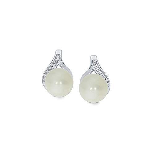 925 Sterling Silver 6.00mm Freshwater Cultured Pearl Round White Diamond Tear Drop Ball Earrings for Women