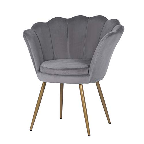 LEPAK Upholstered Shell Chair,Velvet Accent Chair Leisure Tub Chair Occasional Armchair for Living Room Cafe Bedroom Dresser,Guest Chair with Gold Plating Metal Legs (Oyster Shell back-Grey)
