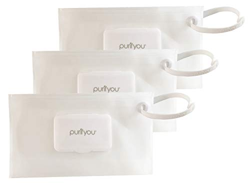 purifyou PurePouch Wipe Case | Keeps Wipes Moist | Premium Wetwipe Cases | Pastel Gray, Pink & Teal Baby Wet Wipe Portable Travel Cases (Clear, Set of 3)