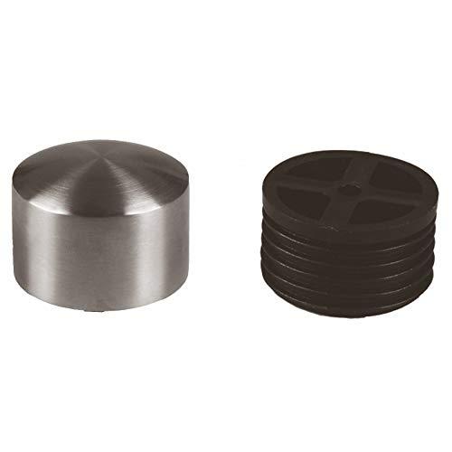 Edelstahl Endkappe inkl.Adapter,Abschlußkappe, Endstück leicht gewölbt für 42,4mm Holzhandlauf