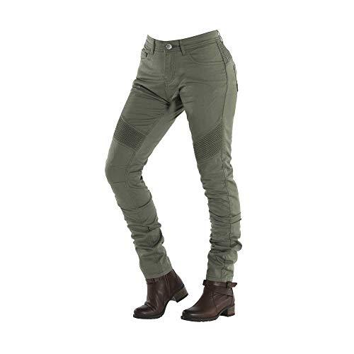 OVERLAP Imola Cactus - Pantalones Vaqueros para Mujer, homologados para Carretera, Verde, Talla 25