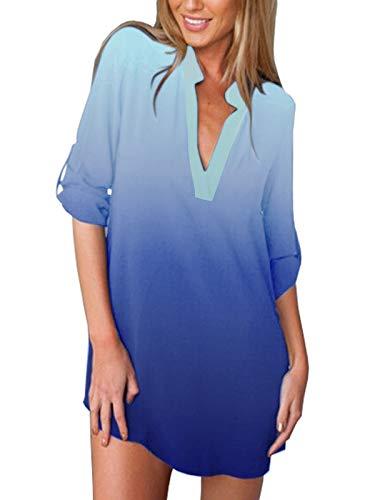 ZANZEA Camisas Mujer Sexy Casual Gasa Camisa Suelta Cuello V Manga Larga Blusa Tops Tallas Grandes Elegante Invierno Camiseta 03-Degradado Azul 40