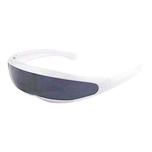 Auntwhale Futuristic Cyclops Sunglasses Cyberpunk Lente specchiata Visiera Occhiali da Sole Occhiali da Equitazione