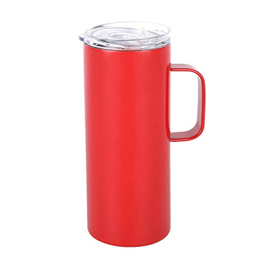 Stainless Steel Coffee Mug Cup with Handle, 17 oz Double Wall Vacuum Insulated Tumbler with Lid Travel Friendly,Red