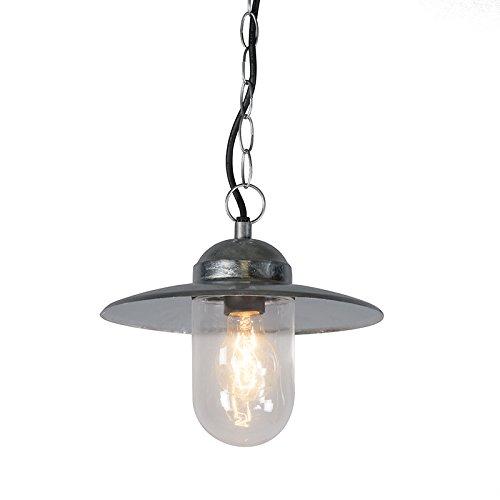 QAZQA Rustique Lampe à Suspension/Lustre/Luminaire/Lumiere/Éclairage industrielle zinc IP44 - Munich verre/Métal Argenté Rond E27 Max. 1 x 60 Watt/Extérieur/Jardin