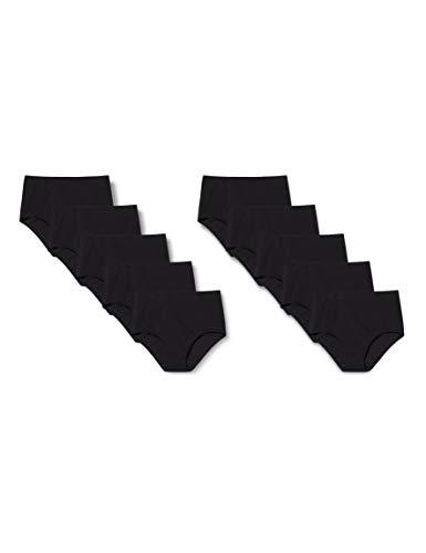 Iris & Lilly Damen Unterhosen aus Baumwolle, 10er-Pack, Schwarz (Black), L, Label: L