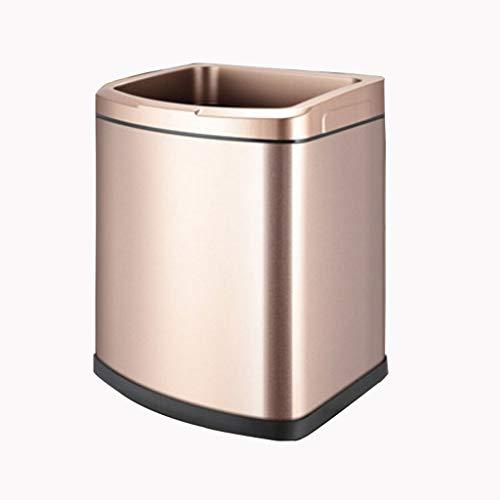 xiaodou Papeleras Bote de Basura sin Tapa del hogar del Cuarto de baño de la Cocina de la Capacidad Grande del hogar del Acero Inoxidable Coverless Bote de Basura (Color : Gold, Size : 9L)