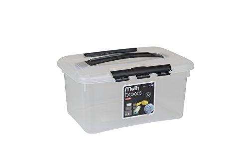 Curver 183122Optima Aufbewahrungsbox Transparent + Deckel transparent schwarz, Polypropylen, Transparent/Schwarz, 5 l
