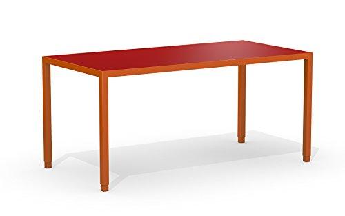 ATL products ST Schöner Tisch Schreibtisch Arbeitstisch Bürotisch Büromöbel/Gestell orange matt/ST-120-70 / Tischplatte Linoleum dunkel rot