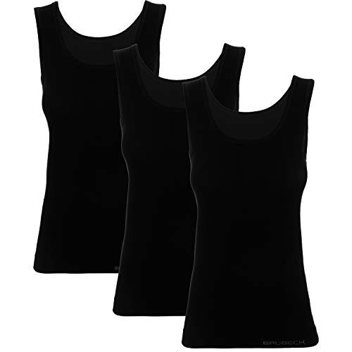 BRUBECK 3er Pack schwarzes Tanktop Damen | T-Shirt ärmellos schwarz | Oberteil atmungsaktiv ohne Arm | Tank Top Cotton | Achselhemd nahtlos | 55{5a5104e0c1dc595c7e98ff0b0e9507618e1145ada251611161eda5d3374f3d74} Baumwolle | Gr. XL, Black | TA00510A