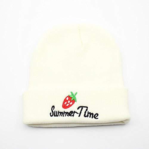 Mütze Männer Frauen Strickmütze Stickerei Erdbeer Mütze Skullcap Cap Krempe Retro...