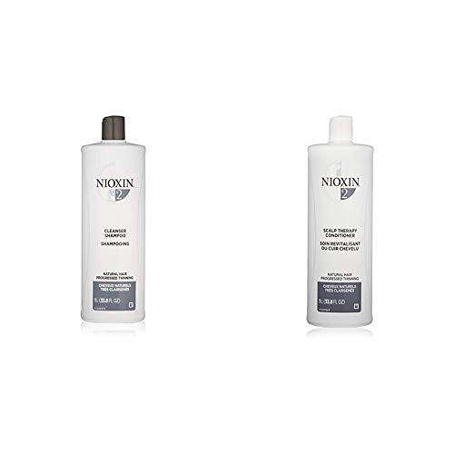 Nioxin System 2 for Natural Hair with Progressed Thinning Cleanser Shampoo (33.8 Ounce) and Scalp Therapy Conditioner (33.8 Ounce) Set