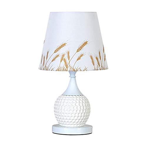 SHIJIE1701AA Lámpara de Mesa Lámpara de sobremesa de cerámica Europea, Dormitorio, Tela, Tela Creativa Noche Lámpara de Mesa (Color : White)