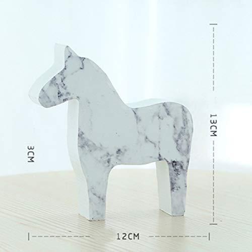 yueyue947 Holz Pferd Figur niedlichen Kind Spielzeug Geschenk Pferd Handwerk dala Pferd Statue Home Desktop büro Dekoration/weiß