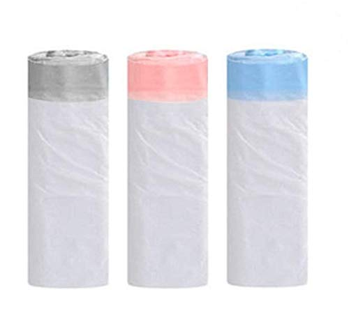 3 Rolls 20L Bin Liners Bin Bags with Drawstring Handle Strong Tall Trash Bags Unscented Indoor Garbage Bags for Bedroom Kitchen Office(45x50cm)
