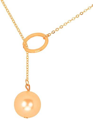 LKLFC Collar Colgante Collar de Cadena Mujer Hombre Collar Serie de Bolas y Cadenas Collar en Plata de Ley 925 Chapado en Oro Rosa con Colgante de Tema de Bolas y Cadena 40cm / 1575 Cadena de Regalo