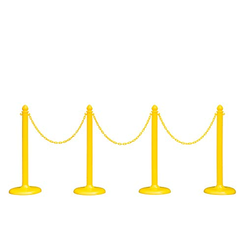 Plastic Safety Queue Stanchion Barrier Set with 32' Chain 4 PCS and C-Hook (Yellow) New Upgrade Version