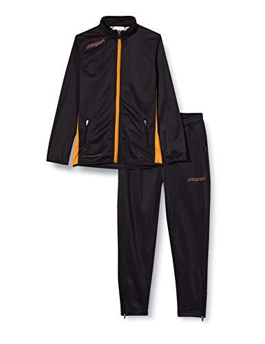 uhlsport Tuta Essential Classic da Uomo, Uomo, Essential Classic Anzug, Schwarz/Fluo Orange, XL