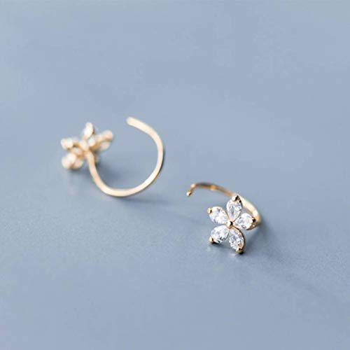 WOZUIMEI S925 Pendientes de Plata Estilo de Arte Coreano Femenino Flores Tachonadas de Diamantes Dulce Temperamento de Gancho de Oreja Cortooro