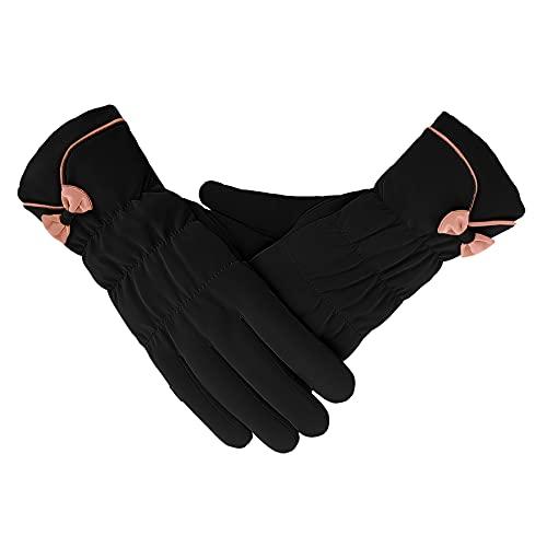 KQueenStar Damen Winter Warme Touchscreen Handschuhe Winddicht Rutschfester Verdicken Handschuhe Frauen Outdoor Strickhandschuhe Winterhandschuhe für Skifahren Radfahren (Schwarz)