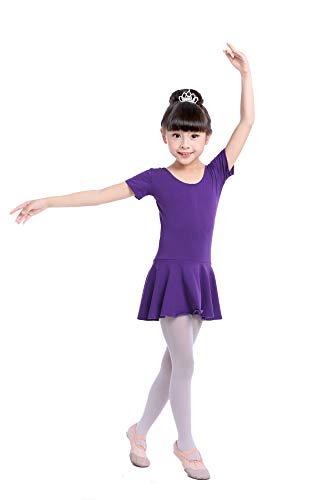DoGeek Vestido Danza Vestido de Ballet Honda Gimnasia Ritmica Mangas Elástico de Ballet de Algodón para Niña 3-12 Años