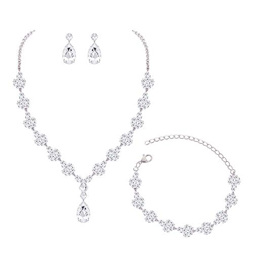 YSOUL CZ Rhinestone Necklace Earrings Bracelet Jewelry Set for Prom Wedding Bridal Bridesmaid (White Gold)