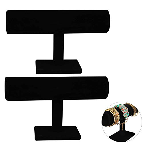 Neu Schmuckständer Schmuckhalter Samt Armband Ständer Armbandhalter Schwarz Samt Kettenständer Halskette Schmuck Aufbewahrung Präsentation Schwarz Armreif T-Stange für Armband Schmuck Verwenden 2 PCS