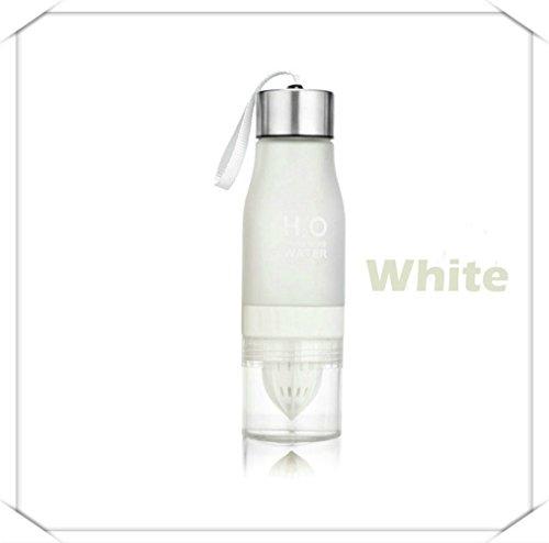 PENVEAT H2O - Botella de agua de 650 ml, plastico, para infusion de frutas, bebidas, deportes al aire libre, zumo, limon, agua portatil, color blanco
