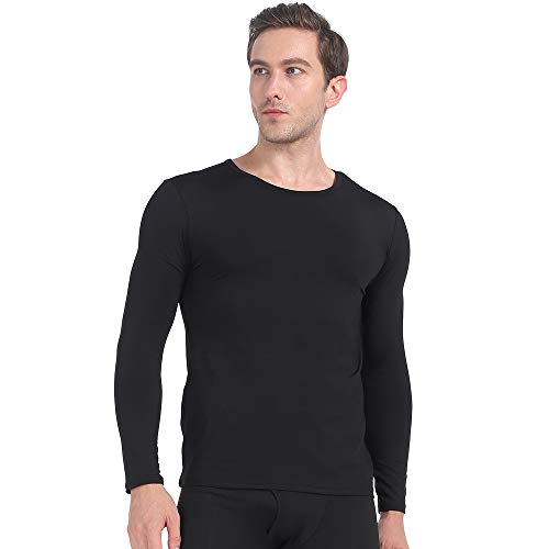 MANCYFIT Mens Thermal Shirts Fleece Lined Top Long Sleeve Compression Base Layer Black XXX-Large