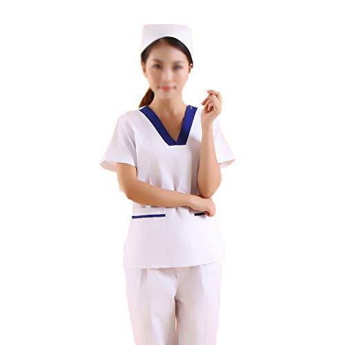 Medizinische Krankenpflege-Arbeitskleidung Kurzärmliges Oberteil Scrubs Set Medizinische Uniformen Unisex-V-Ausschnitt Multi-Pocket Anti-Falten Klassisch Zahnarzt Uniform Chirurgisch,Dental,Menxxl