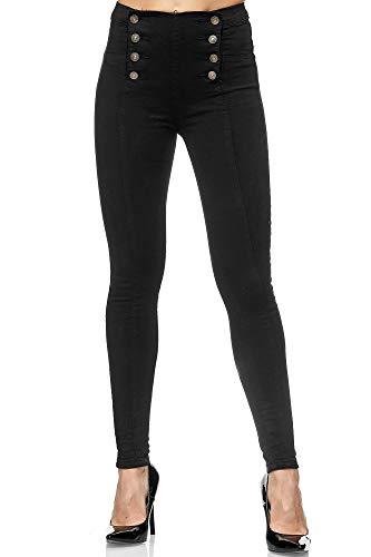 Elara Damen Jeans Skinny High Waist Hose Chunkyrayan JS001 Black-36 (S)