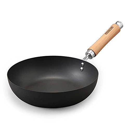 アイリスオーヤマ フライパン 鉄 中華鍋 深型フライパン 炒め鍋 28cm IH対応 強火で炒めたい料理にぴったり 軽量 お手入れ簡単 サビにくい 長持ち SCP-W28 ブラック