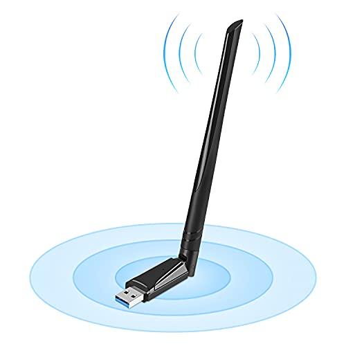 WiFi 無線LAN 子機 1300Mbps USB3.0 WIFIアダプター デュアルバンド 5G/2.4G 5dBi高速通信802.11 ac/a/n/g/b技術 WPS暗号化機能 Windows10/8.1/8/7/ XP/Mac OS X/Vista/Linux 対応 PC/Desktop/Laptop に最適 (シングルアンテナ式)