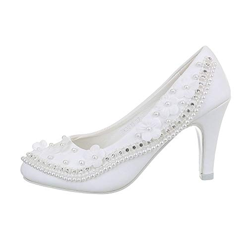 Ital Design Damenschuhe Brautschuhe Hochzeit Pumps High Heel Pumps Synthetik Weiß Gr. 39
