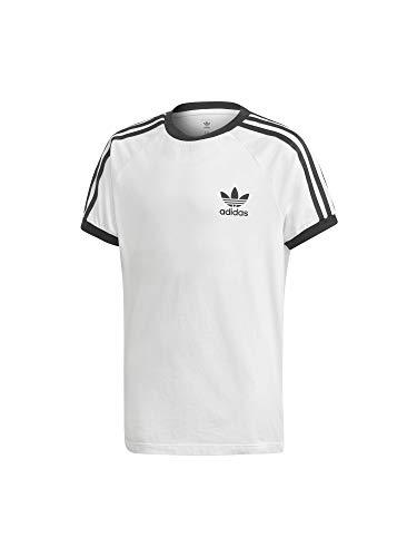 adidas 3STRIPES tee Camiseta, Blanco/Negro, 15 años Unisex niños