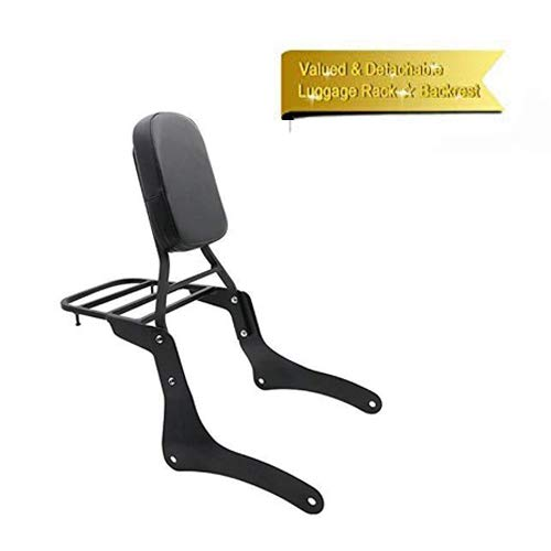 Promise Faster Backrest Sissy Bar Luggage Rack Pad Compatible for Kawasaki Vulcan 900 VN900 1997-2019